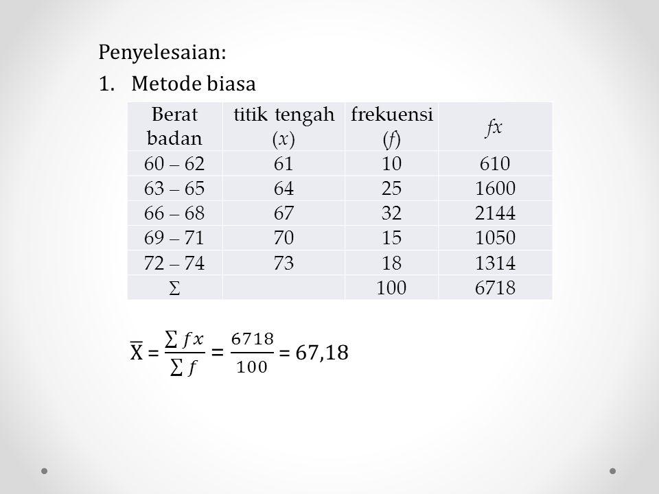 Berat badan titik tengah (x) frekuensi (f) fx 60 – 626110610 63 – 6564251600 66 – 6867322144 69 – 7170151050 72 – 7473181314  1006718