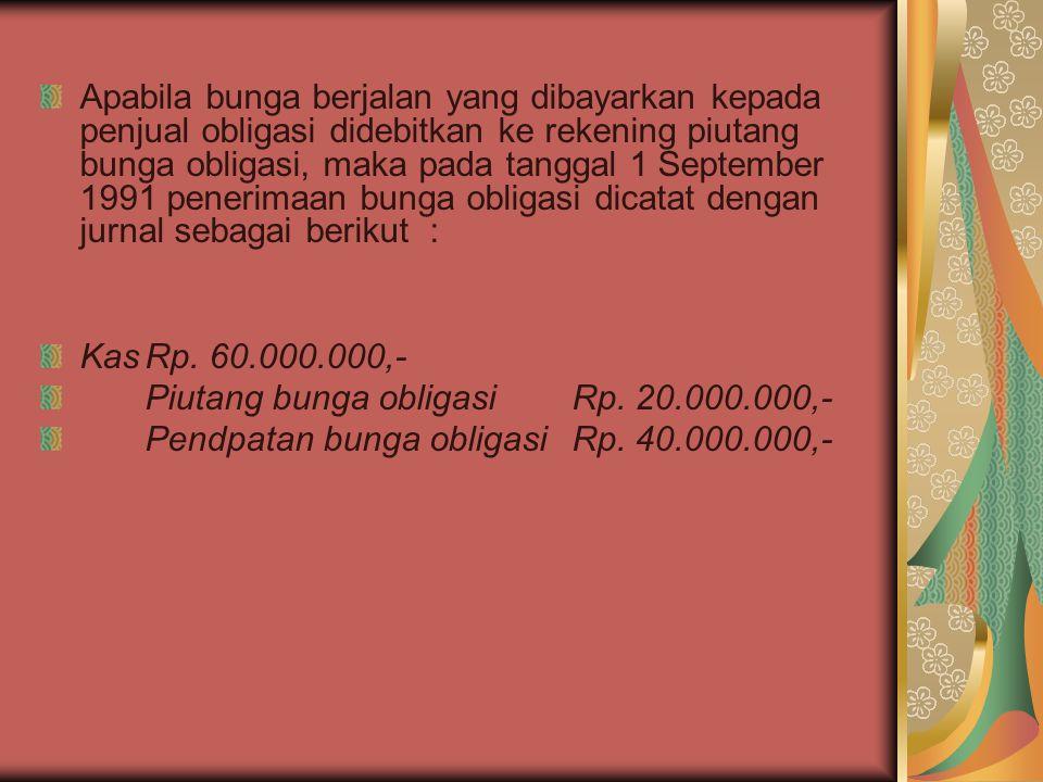 Apabila bunga berjalan yang dibayarkan kepada penjual obligasi didebitkan ke rekening piutang bunga obligasi, maka pada tanggal 1 September 1991 pener