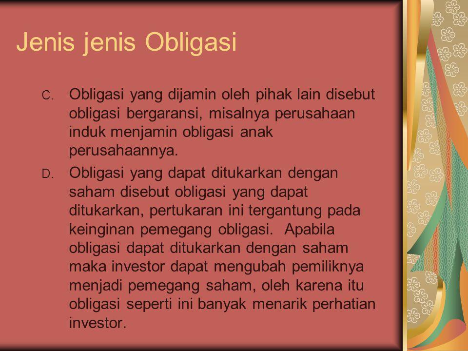Jenis jenis Obligasi C. Obligasi yang dijamin oleh pihak lain disebut obligasi bergaransi, misalnya perusahaan induk menjamin obligasi anak perusahaan