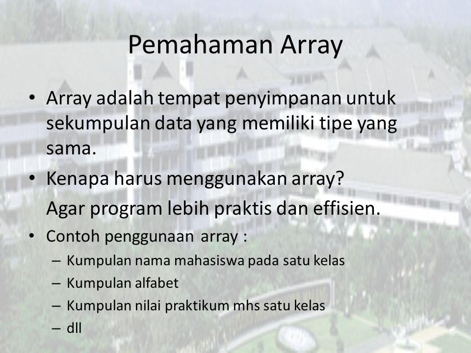 Pemahaman Array Array adalah tempat penyimpanan untuk sekumpulan data yang memiliki tipe yang sama. Kenapa harus menggunakan array? Agar program lebih