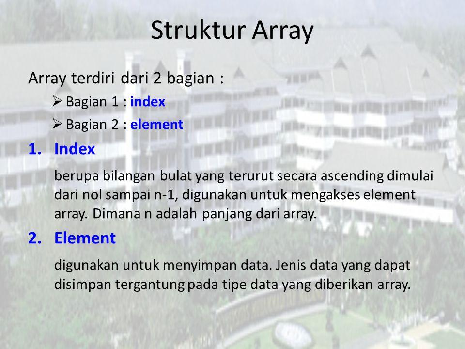 Struktur Array Array terdiri dari 2 bagian :  Bagian 1 : index  Bagian 2 : element 1.Index berupa bilangan bulat yang terurut secara ascending dimul