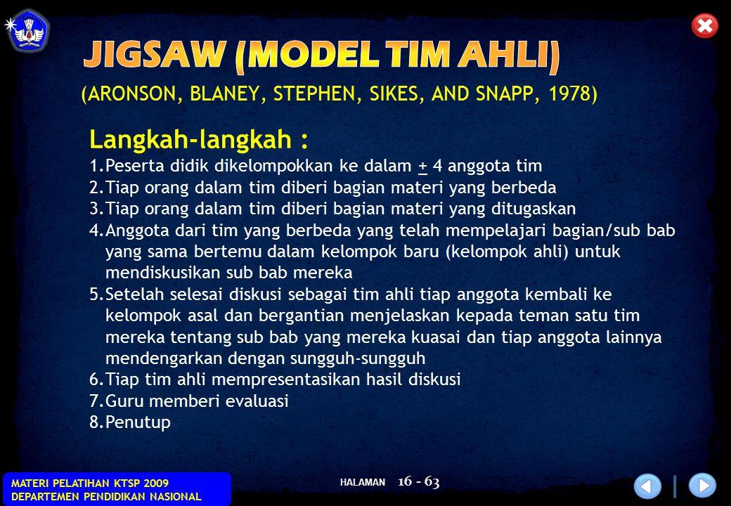 HALAMAN MATERI PELATIHAN KTSP 2009 DEPARTEMEN PENDIDIKAN NASIONAL 16 - 63 (ARONSON, BLANEY, STEPHEN, SIKES, AND SNAPP, 1978) Langkah-langkah : 1.Peser