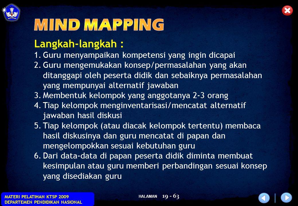 HALAMAN MATERI PELATIHAN KTSP 2009 DEPARTEMEN PENDIDIKAN NASIONAL 19 - 63 Langkah-langkah : 1.Guru menyampaikan kompetensi yang ingin dicapai 2.Guru m
