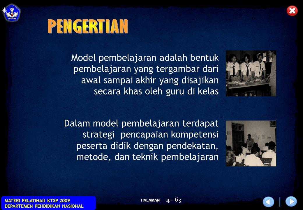 HALAMAN MATERI PELATIHAN KTSP 2009 DEPARTEMEN PENDIDIKAN NASIONAL 4 - 63 Model pembelajaran adalah bentuk pembelajaran yang tergambar dari awal sampai
