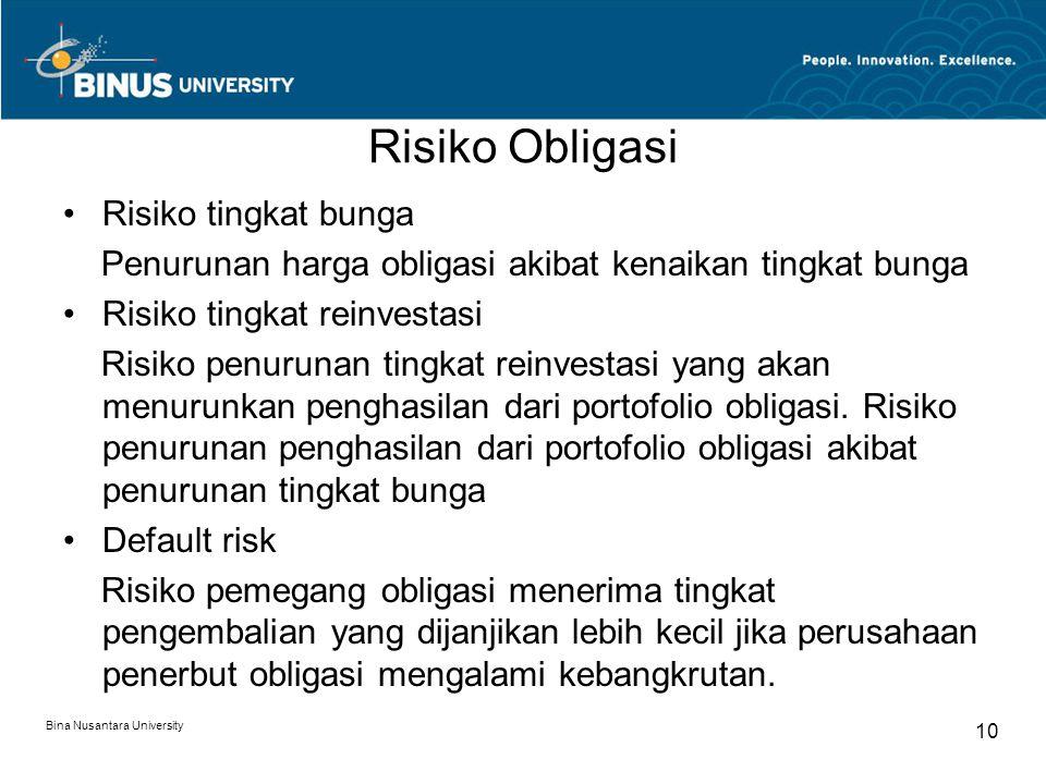 Risiko Obligasi Risiko tingkat bunga Penurunan harga obligasi akibat kenaikan tingkat bunga Risiko tingkat reinvestasi Risiko penurunan tingkat reinve
