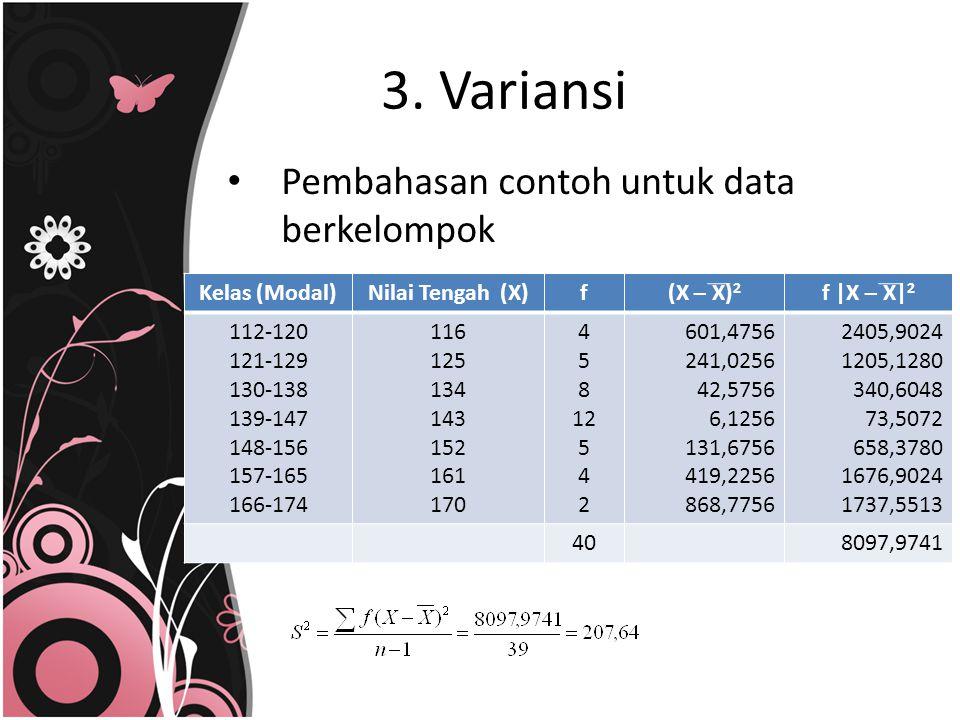 3. Variansi Pembahasan contoh untuk data berkelompok Kelas (Modal)Nilai Tengah (X)f(X – X) 2 f |X – X| 2 112-120 121-129 130-138 139-147 148-156 157-1