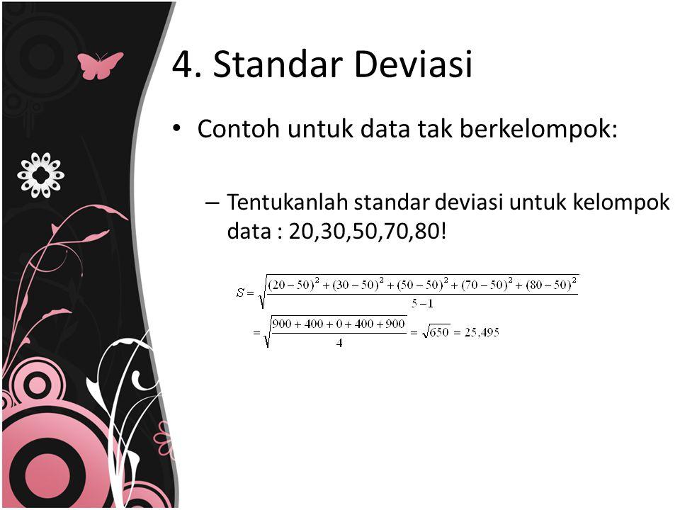 4. Standar Deviasi Contoh untuk data tak berkelompok: – Tentukanlah standar deviasi untuk kelompok data : 20,30,50,70,80!