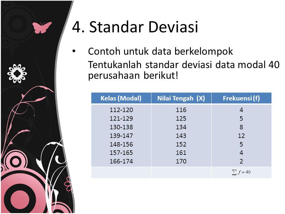 4. Standar Deviasi Contoh untuk data berkelompok Tentukanlah standar deviasi data modal 40 perusahaan berikut! Kelas (Modal)Nilai Tengah (X)Frekuensi