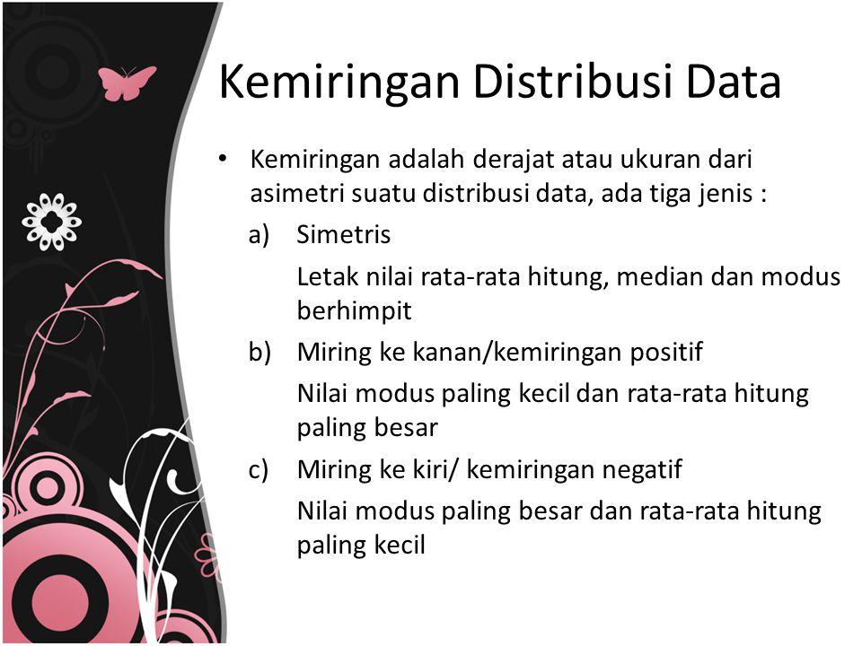 Kemiringan Distribusi Data Kemiringan adalah derajat atau ukuran dari asimetri suatu distribusi data, ada tiga jenis : a)Simetris Letak nilai rata-rat
