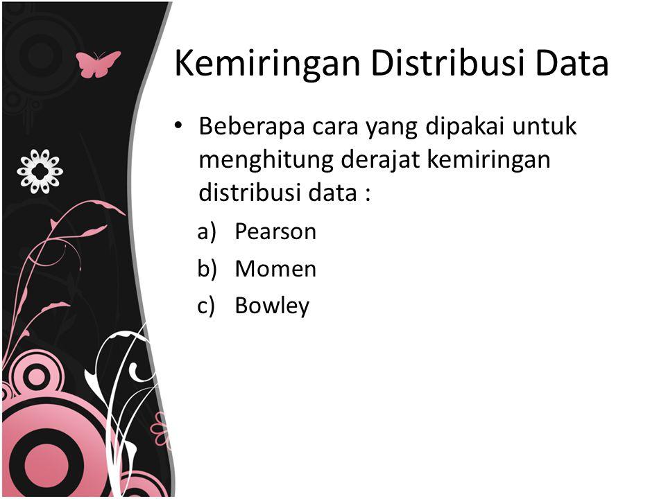 Kemiringan Distribusi Data Beberapa cara yang dipakai untuk menghitung derajat kemiringan distribusi data : a)Pearson b)Momen c)Bowley