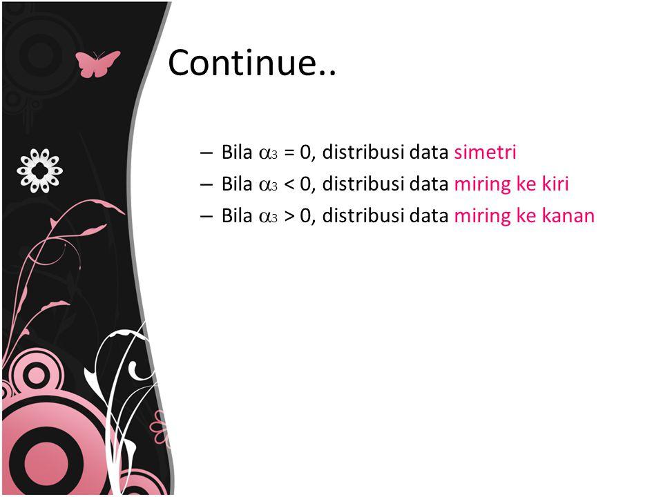 Continue.. – Bila  3 = 0, distribusi data simetri – Bila  3 < 0, distribusi data miring ke kiri – Bila  3 > 0, distribusi data miring ke kanan