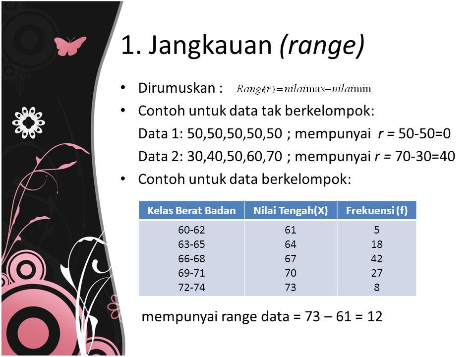 1. Jangkauan (range) Dirumuskan : Contoh untuk data tak berkelompok: Data 1: 50,50,50,50,50 ; mempunyai r = 50-50=0 Data 2: 30,40,50,60,70 ; mempunyai