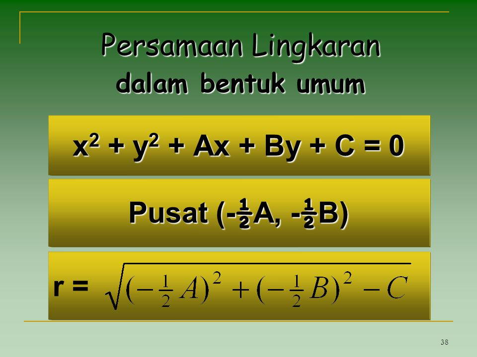 38 x 2 + y 2 + Ax + By + C = 0 Persamaan Lingkaran dalam bentuk umum Pusat (- ½ A, - ½ B) r =