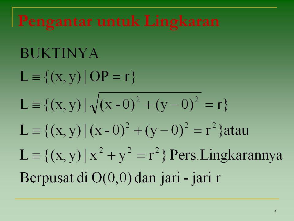 36 Penyelesaian ▪ pusat pada perpotongan garis y = x dengan garis x + 2y = 6 substitusi y = x ke x + 2y = 6 x + 2x = 6 3x = 6 → x = 2 x = 2 → y = 2 → pusat (2,2)