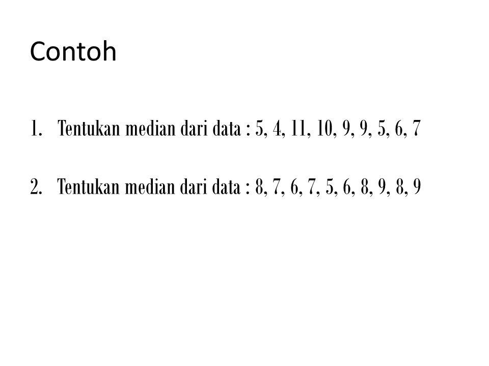 Contoh 1.Tentukan median dari data : 5, 4, 11, 10, 9, 9, 5, 6, 7 2. Tentukan median dari data : 8, 7, 6, 7, 5, 6, 8, 9, 8, 9