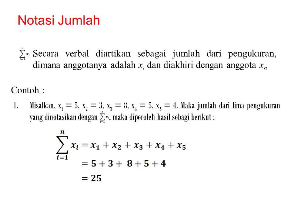 Notasi Jumlah Secara verbal diartikan sebagai jumlah dari pengukuran, dimana anggotanya adalah x i dan diakhiri dengan anggota x n 1.Misalkan, x 1 = 5