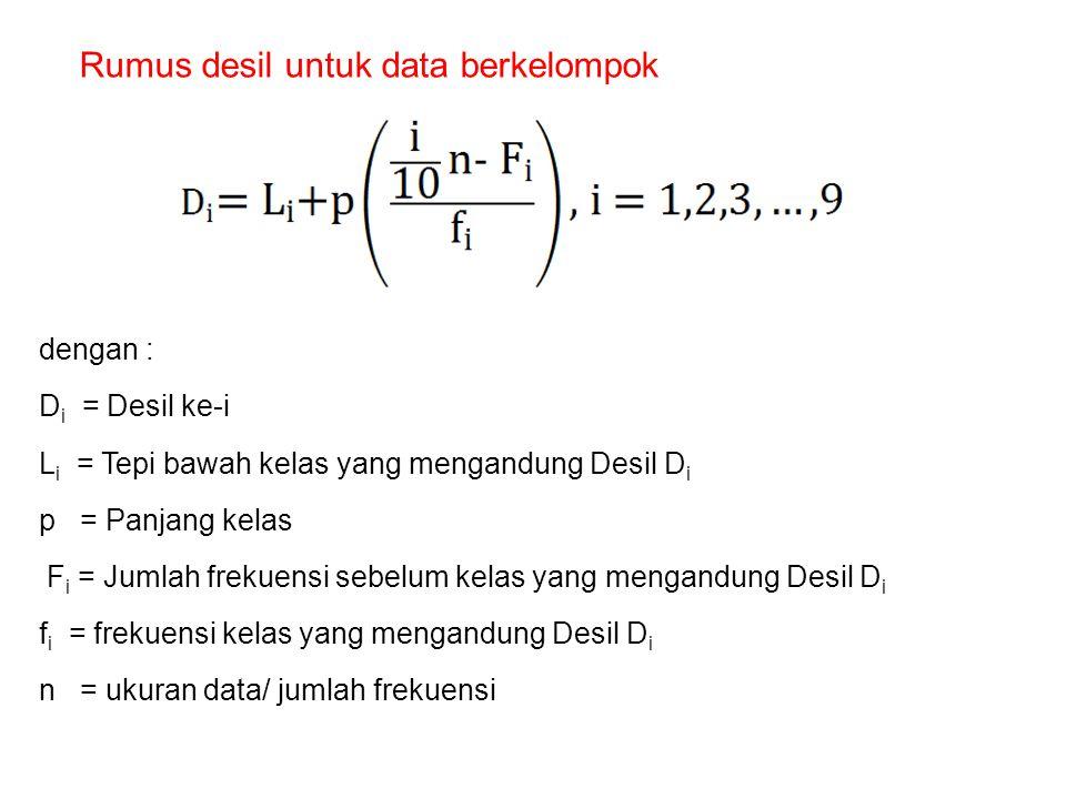 Rumus desil untuk data berkelompok dengan : D i = Desil ke-i L i = Tepi bawah kelas yang mengandung Desil D i p = Panjang kelas F i = Jumlah frekuensi