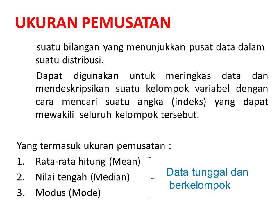 UKURAN PEMUSATAN suatu bilangan yang menunjukkan pusat data dalam suatu distribusi. Dapat digunakan untuk meringkas data dan mendeskripsikan suatu kel