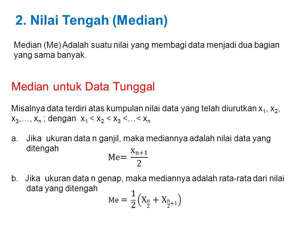 2. Nilai Tengah (Median) Median (Me) Adalah suatu nilai yang membagi data menjadi dua bagian yang sama banyak. Median untuk Data Tunggal Misalnya data