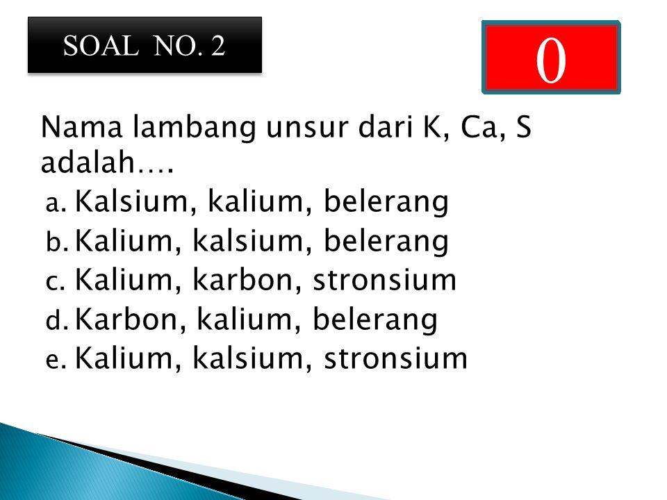 Nama lambang unsur dari K, Ca, S adalah….a. Kalsium, kalium, belerang b.