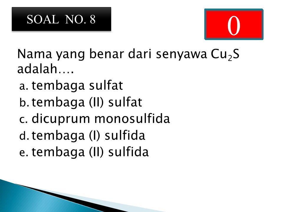 Nama yang benar dari senyawa Cu 2 S adalah….a. tembaga sulfat b.