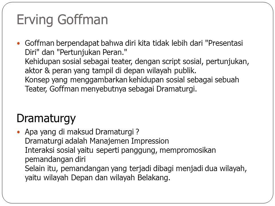 Erving Goffman Goffman berpendapat bahwa diri kita tidak lebih dari Presentasi Diri dan Pertunjukan Peran. Kehidupan sosial sebagai teater, dengan script sosial, pertunjukan, aktor & peran yang tampil di depan wilayah publik.