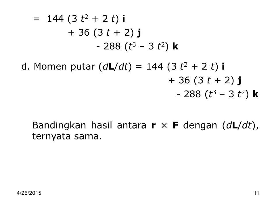 4/25/201511 = 144 (3 t 2 + 2 t) i + 36 (3 t + 2) j - 288 (t 3 – 3 t 2 ) k d. Momen putar (dL/dt) = 144 (3 t 2 + 2 t) i + 36 (3 t + 2) j - 288 (t 3 – 3
