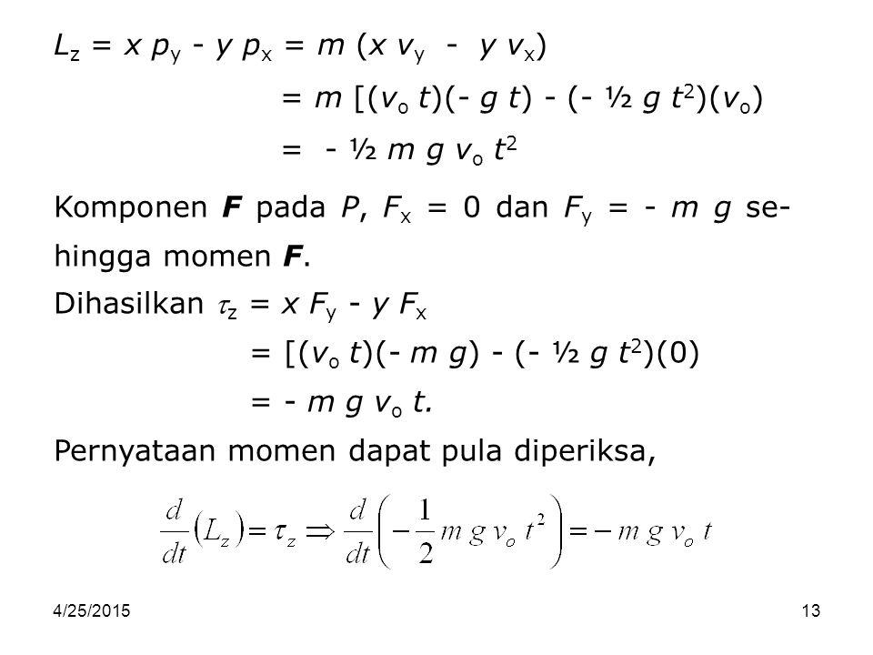 4/25/201513 L z = x p y - y p x = m (x v y - y v x ) = m [(v o t)(- g t) - (- ½ g t 2 )(v o ) = - ½ m g v o t 2 Komponen F pada P, F x = 0 dan F y = -