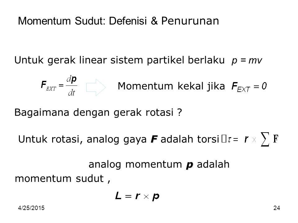 4/25/201524 Momentum Sudut: Defenisi & Penurunan Untuk gerak linear sistem partikel berlaku Momentum kekal jika Bagaimana dengan gerak rotasi ? F Untu