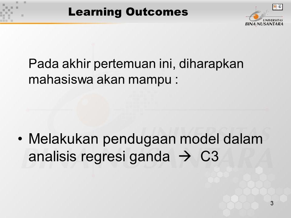 3 Learning Outcomes Pada akhir pertemuan ini, diharapkan mahasiswa akan mampu : Melakukan pendugaan model dalam analisis regresi ganda  C3