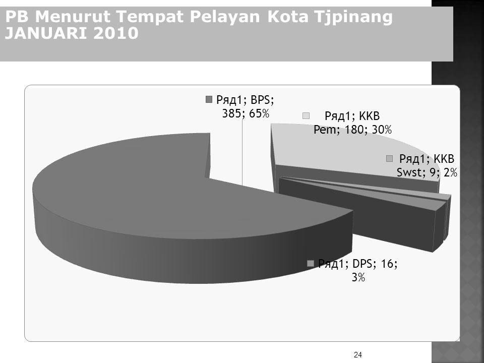 24 PB Menurut Tempat Pelayan Kota Tjpinang JANUARI 2010