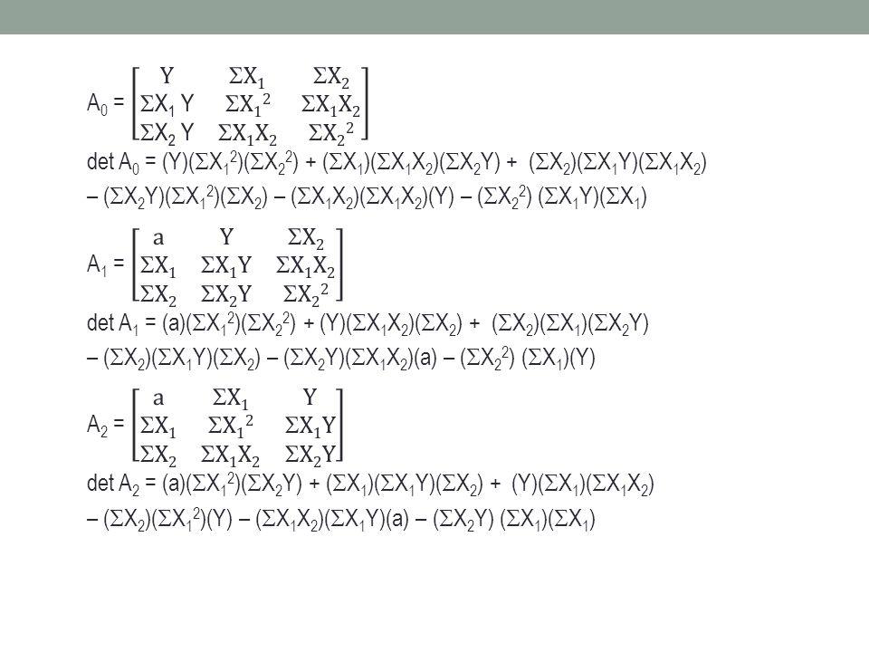 Substitusi persamaan (1) dan (2): (1) × 43  301a + 1849 b + 13115c = 2064 (2) × 7  301a + 2135b + 17143c = 1715 - 286b – 4028c = 349...(4) Substitusi persamaan (1) dan (3): (1) × 305  2135a + 13005b + 93025c = 14640 (2) × 7  2135a + 17143b + 146867c = 10997 - 4028b – 53842c = 3643...(5) Substitusi persamaan (4) dan (5): (4) × 4028  -1152008b – 13224784c = 1405772 (5) × 349  - 1152008b – 18790858c = 1271407 2566074c = 134365 c = 0,05 masukkan ke persamaan (4): - 286b – 4028(0,05) = 349  b = -1,92 masukkan ke persamaan (1): - 7a + 43(-1,92) + 305(0,05) = 48  a = 16,47 Sehingga persamaan kuadratisnya: Y = 16,47 – 1,92X + 0,05X 2 Ramalan Y untuk X = 4  Y = 16,47 – 1,92(4) + 0,05(4) 2 = 9,59