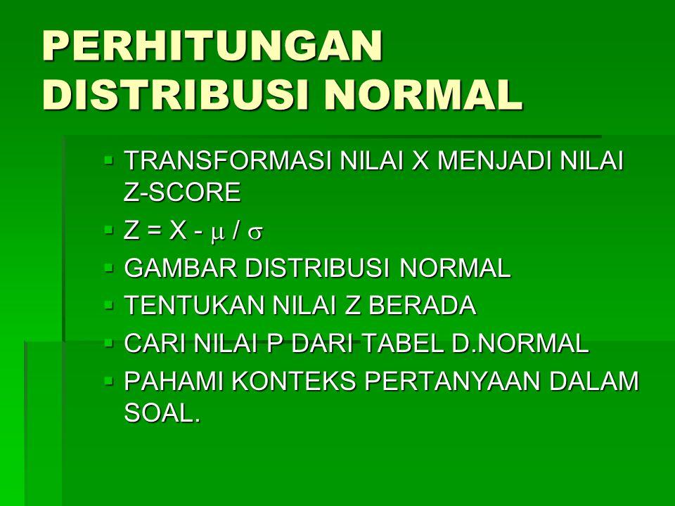 PERHITUNGAN DISTRIBUSI NORMAL  TRANSFORMASI NILAI X MENJADI NILAI Z-SCORE  Z = X -  /   GAMBAR DISTRIBUSI NORMAL  TENTUKAN NILAI Z BERADA  CARI