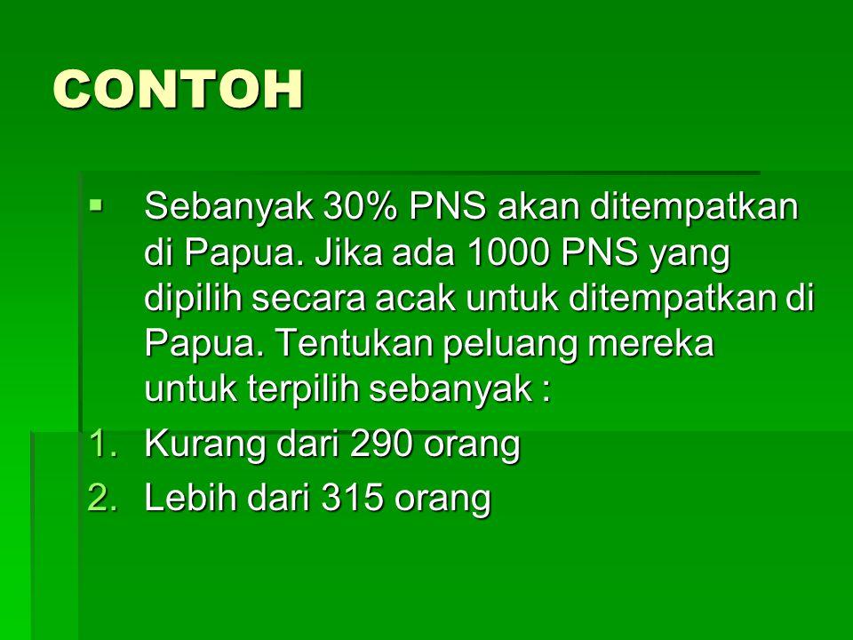 CONTOH  Sebanyak 30% PNS akan ditempatkan di Papua. Jika ada 1000 PNS yang dipilih secara acak untuk ditempatkan di Papua. Tentukan peluang mereka un