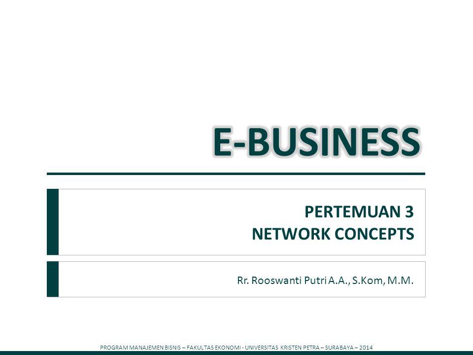 PROGRAM MANAJEMEN BISNIS – FAKULTAS EKONOMI - UNIVERSITAS KRISTEN PETRA – SURABAYA – 2014 1 Rr. Rooswanti Putri A.A., S.Kom, M.M. PERTEMUAN 3 NETWORK
