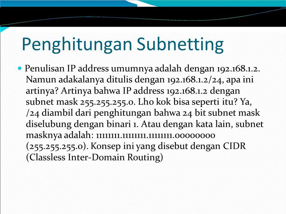 Penghitungan Subnetting Penulisan IP address umumnya adalah dengan 192.168.1.2. Namun adakalanya ditulis dengan 192.168.1.2/24, apa ini artinya? Artin