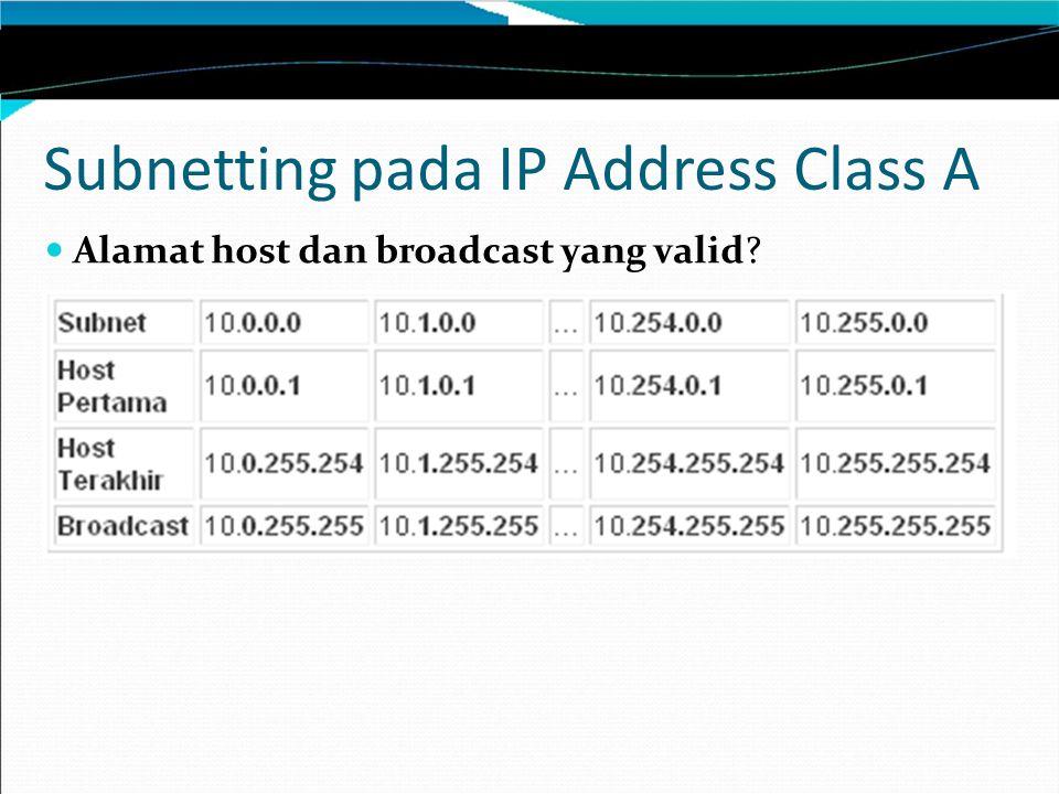 Subnetting pada IP Address Class A Alamat host dan broadcast yang valid?