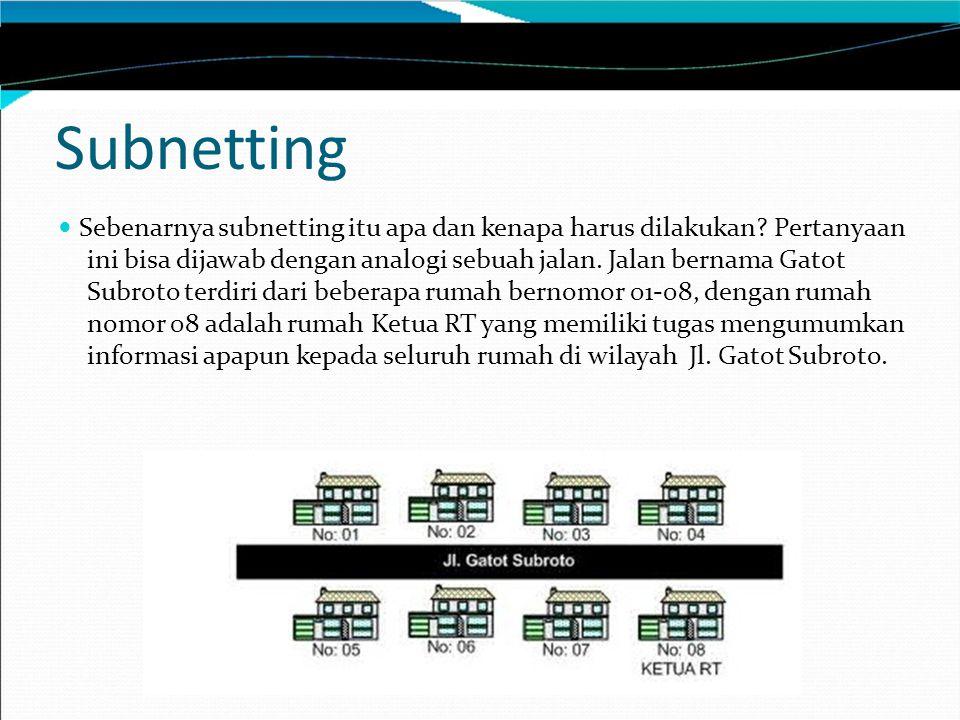 Penghitungan Subnetting Pertanyaan berikutnya adalah Subnet Mask berapa saja yang bisa digunakan untuk melakukan subnetting.