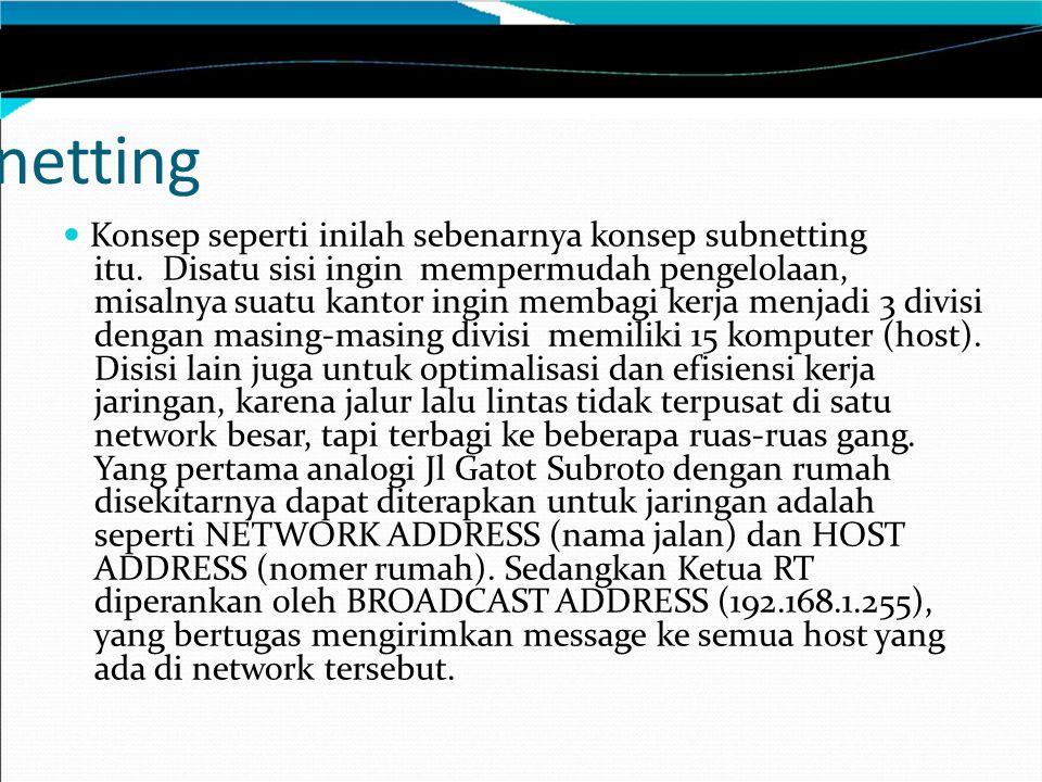 Subnetting pada IP Address Class C Bagaimana dengan alamat host dan broadcast yang valid.