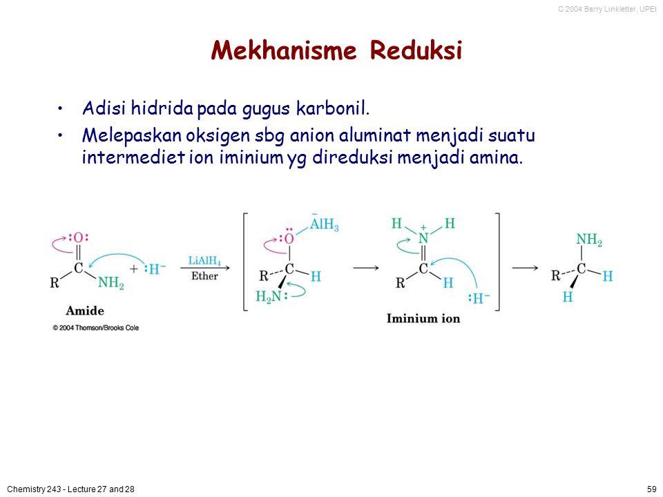 C 2004 Barry Linkletter, UPEI Chemistry 243 - Lecture 27 and 2859 Mekhanisme Reduksi Adisi hidrida pada gugus karbonil. Melepaskan oksigen sbg anion a