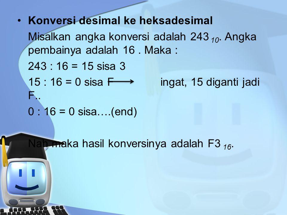 Konversi desimal ke heksadesimal Misalkan angka konversi adalah 243 10.