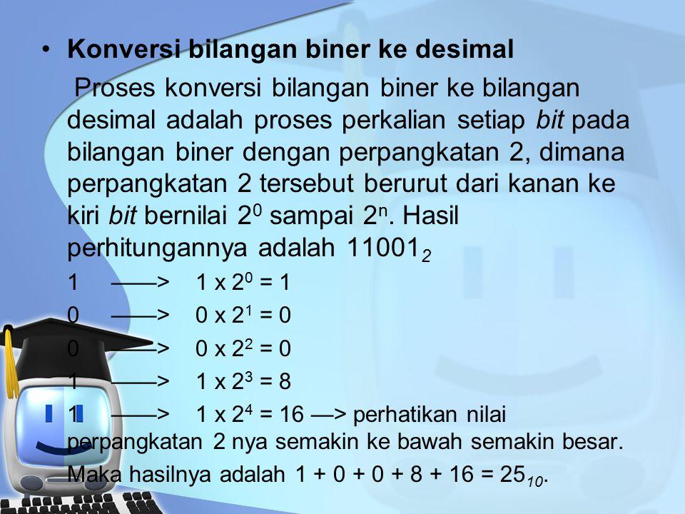 Konversi bilangan biner ke desimal Proses konversi bilangan biner ke bilangan desimal adalah proses perkalian setiap bit pada bilangan biner dengan perpangkatan 2, dimana perpangkatan 2 tersebut berurut dari kanan ke kiri bit bernilai 2 0 sampai 2 n.