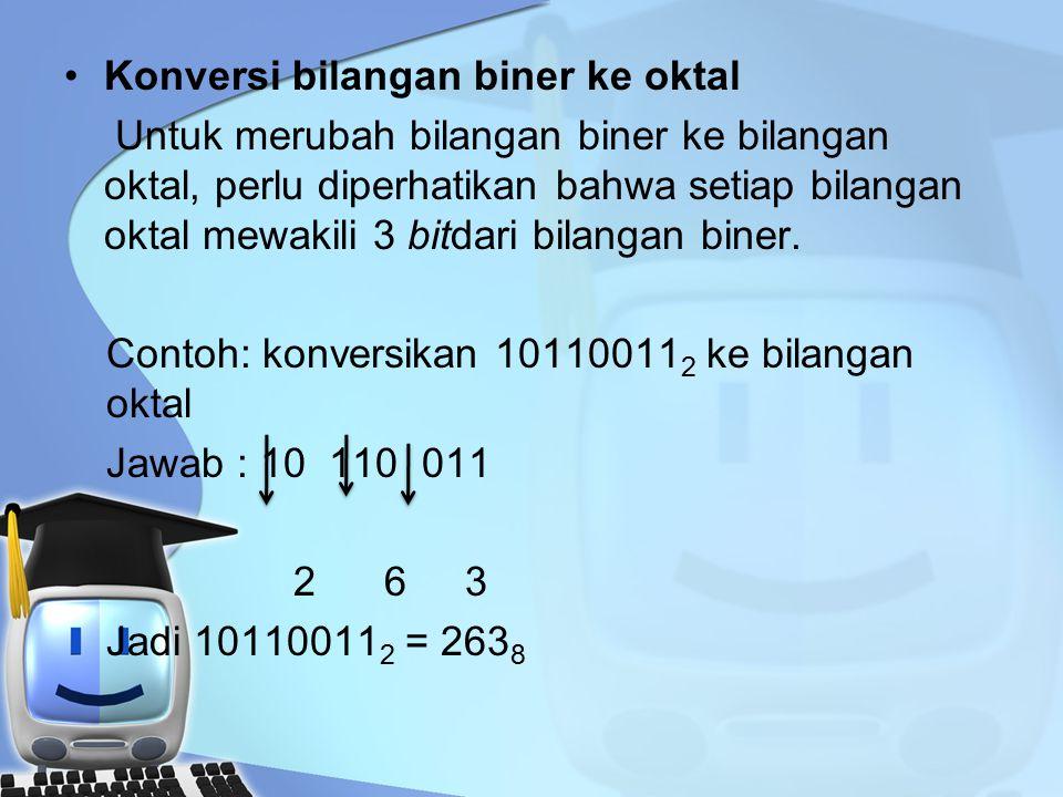 Konversi bilangan biner ke oktal Untuk merubah bilangan biner ke bilangan oktal, perlu diperhatikan bahwa setiap bilangan oktal mewakili 3 bitdari bilangan biner.