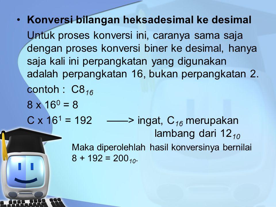 Konversi bilangan heksadesimal ke desimal Untuk proses konversi ini, caranya sama saja dengan proses konversi biner ke desimal, hanya saja kali ini perpangkatan yang digunakan adalah perpangkatan 16, bukan perpangkatan 2.