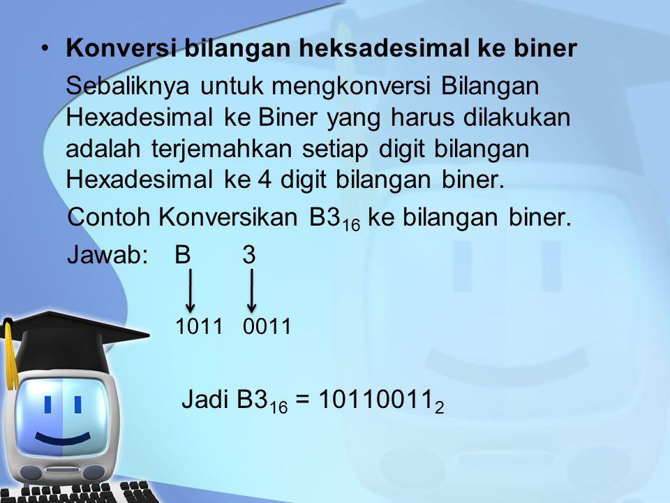 Konversi bilangan heksadesimal ke biner Sebaliknya untuk mengkonversi Bilangan Hexadesimal ke Biner yang harus dilakukan adalah terjemahkan setiap digit bilangan Hexadesimal ke 4 digit bilangan biner.
