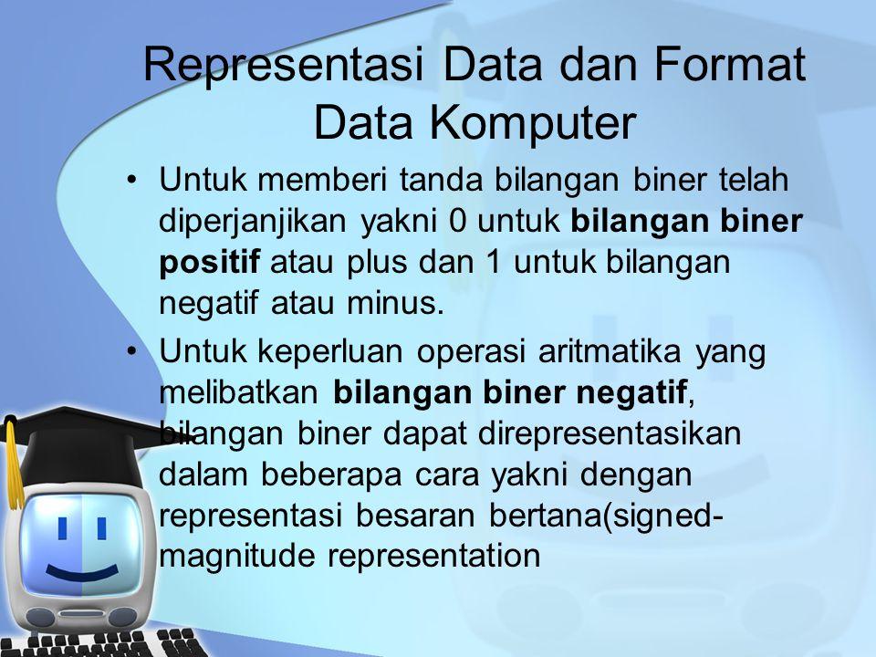 Representasi Data dan Format Data Komputer Untuk memberi tanda bilangan biner telah diperjanjikan yakni 0 untuk bilangan biner positif atau plus dan 1 untuk bilangan negatif atau minus.