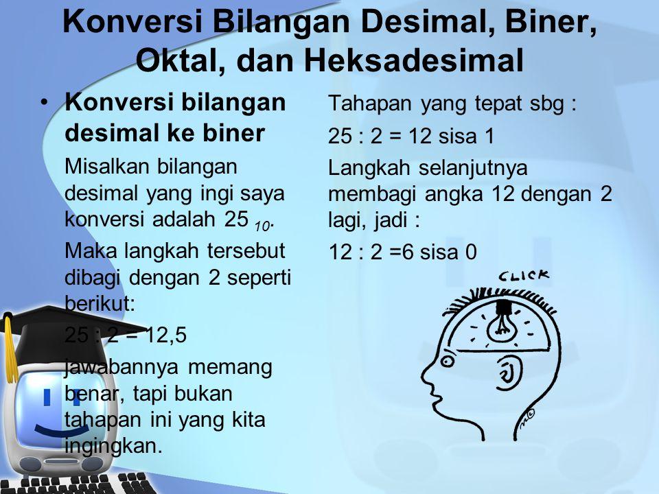 Konversi Bilangan Desimal, Biner, Oktal, dan Heksadesimal Konversi bilangan desimal ke biner Misalkan bilangan desimal yang ingi saya konversi adalah 25 10.