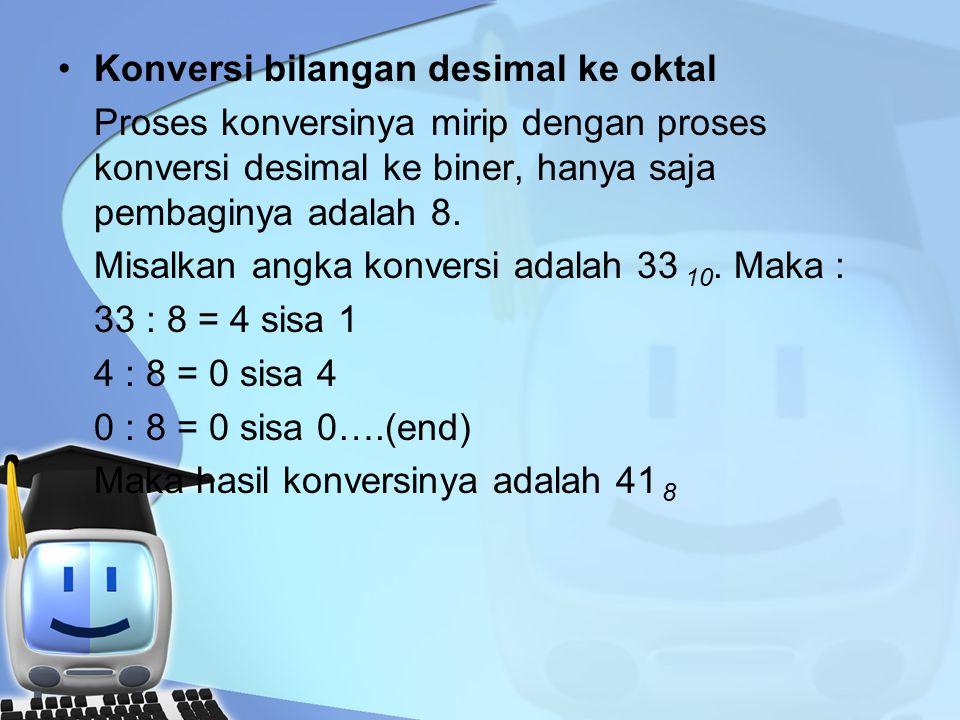 Konversi bilangan desimal ke oktal Proses konversinya mirip dengan proses konversi desimal ke biner, hanya saja pembaginya adalah 8.