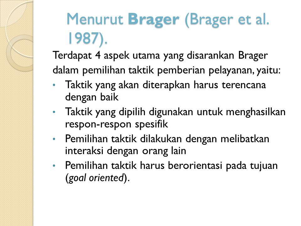 Menurut Brager (Brager et al.1987).