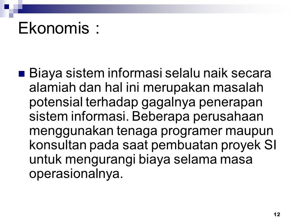 12 Ekonomis : Biaya sistem informasi selalu naik secara alamiah dan hal ini merupakan masalah potensial terhadap gagalnya penerapan sistem informasi.